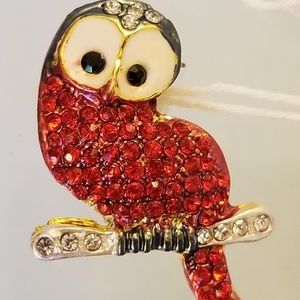 NWT Red Bird Pin Brooch Owl Glass Crystals 1.25x1""